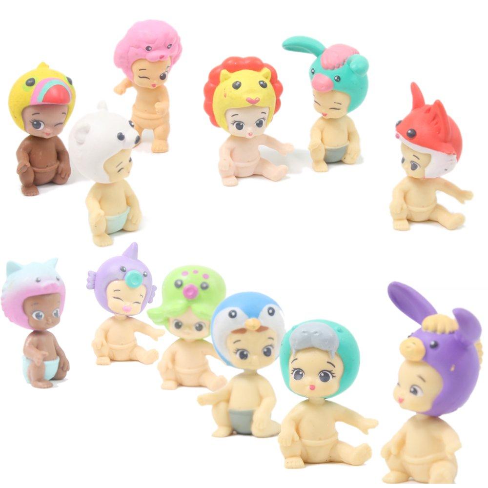 QTFHR Random Cute Miniature Doll Mini Cute Detachable Doll Toy Cake// Plant// Car Decoration 10 Pcs
