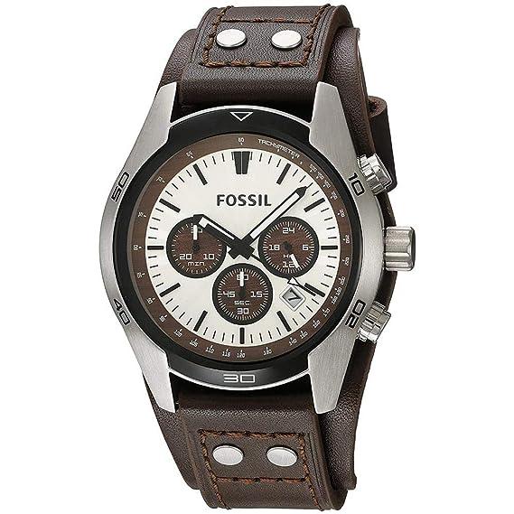 Fossil correa de reloj CH-2565 Piel Marrón oscuro 22mm(Sólo reloj correa - RELOJ NO INCLUIDO!): Amazon.es: Relojes