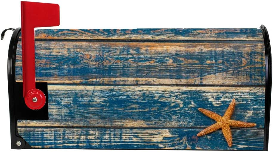 My Daily Magnetic Mailbox Covers Starfish Blue Wood Texture Decorative Mailwraps Vintage Mailbox Post Cover Standard Size