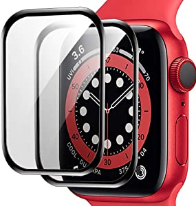 [2 Pack] Aeska Screen Protector for Apple Watch Series 6/Apple Watch SE [44mm] 2020 iWatch SE Series 6/5/4 [Max Coverage Easy Install ] Bubble-Free Anti-Scratch HD Clear Screen Film Clear
