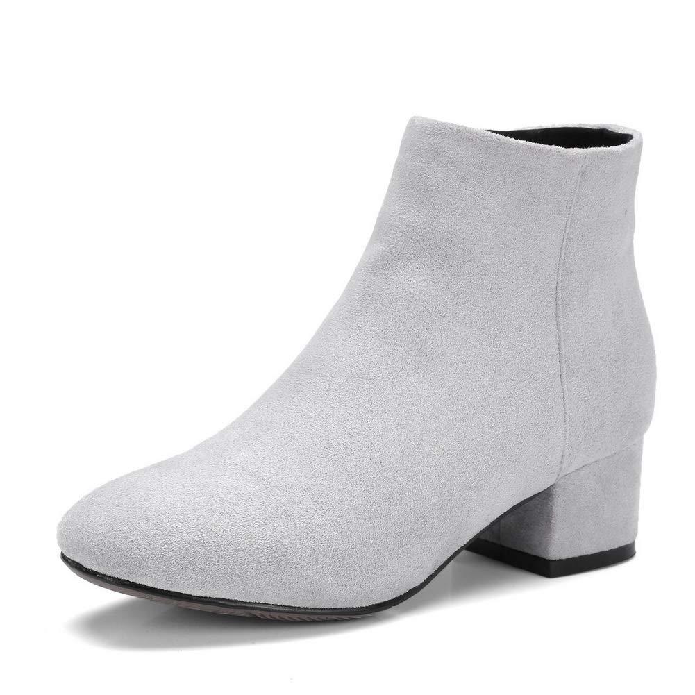 M US AN Womens Chunky Heels Zipper Gray Imitated Suede Boots DKU02617-9 B