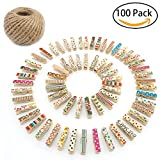 WATTA Mini Colorful Painted Natural Wooden Craft Clips, 100 Pieces Photo Paper Peg Pin Clothespin Craft Clips with 164 Feet Jute Twine