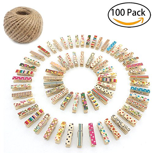 PX Home 100 pcs Wooden Photo Clips, Multi-Function Colored Mini Wooden Photo Paper Peg Pin Craft Clips Bundle with 164FT/50M Jute Twine for Home School Arts Crafts Decor by PX Home