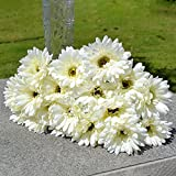 Artificial Flowers, Kayau 10pcs PU Artificial Gerbera Daisy Bouquet for Wedding Party Home Office Gift Indoor Decoration (White)