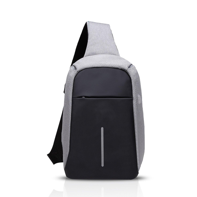 FANDARE 2017 New Fashion Shoulder Anti-theft Backpack Cross Body Bag Outdoor Sling Bag Chest Pack Men/Women Cycling Hiking Camping Travel Bag Reflective Stripe Polyester Blue BK-EN003