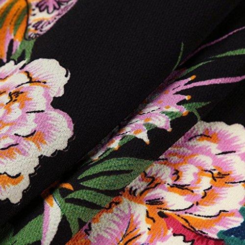 AMUSTER Damen Kleider Frauen Bodycon Sommerkleider Ärmelloses MiniKleid Mode Frauen Blumendruck A Line Vintage Boho Minikleid Druck Partykleid Cocktailkleid Schwarz