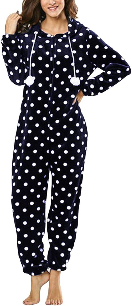 Zhhlaixing Mujer Body Cálido Onesie Todo en Pijama Manga Larga Jumpsuit Ropa de Dormir - Invierno Franela Mono Homewear