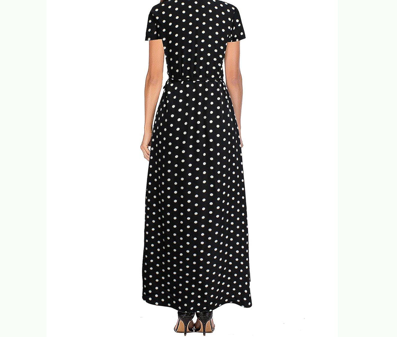Sleeve Polka dot wrap Dress Women Sexy v Neck Split Vestidos Elegant Beach Black Long Dress at Amazon Womens Clothing store: