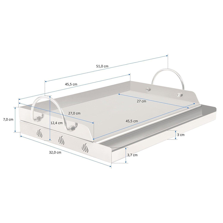 51/x 32/x 12,4/cm plancha rectangular parrilla de gas y m/ás Bandeja Onlyfire de acero inoxidable universal para barbacoa de carb/ón