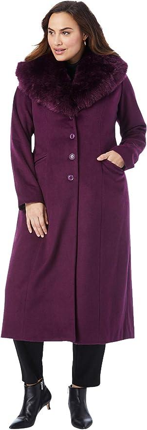 Jessica London Women's Plus Size Long Wool-Blend Coat with Faux Fur Collar