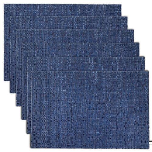 Cait Chapman Home Fashion Texture Design PVC Woven Placemat (Navy), Set of 6