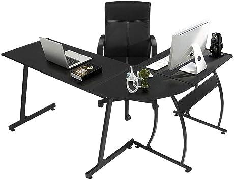 Greenforest L Shaped Gaming Computer Desk 58 1 L Shape Corner Gaming Table Writing Studying Pc Laptop Workstation For Home Office Bedroom Black Furniture Decor