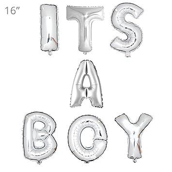 its a boy 16 silver balloons banner set aluminum foil letter balloons for wedding
