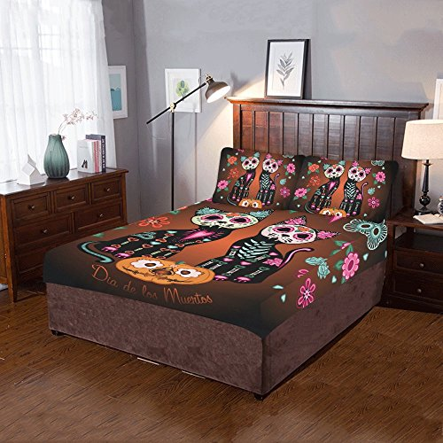 Unique Debora Custom 3-Pieces Bedding Set 86x70 Inch Super Soft for Cats In Love Pumpkins And Flowers Day Of The (Day Of The Dead Pumpkin)