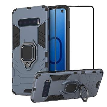 Silicona Doble Caja Protectora A Prueba de Golpes+Soporte de Anillo Magn/ético,PC+TPU Anti-ca/ída Caso-Rojo LsYun Funda Compatible para Samsung Galaxy A2 Core Carcasa 2X Vidrio Templado