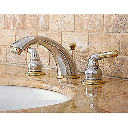 Amazon.com: Chrome/ Polished Brass Widespread Bathroom Faucet ...