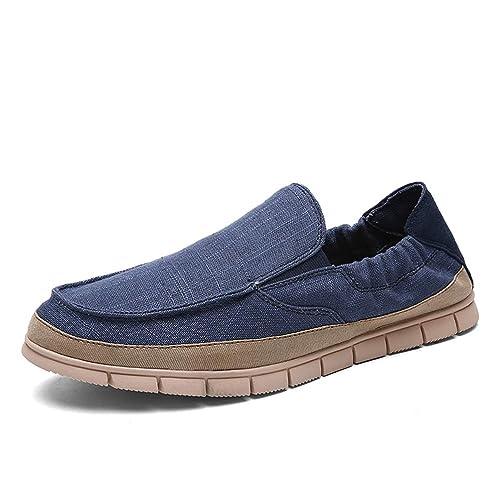 Hombres Alpargatas Lona Zapatos Verano Moda Hombres Casual Zapatos Slip on Transpirable Mocasines Hombres Pisos Zapatos: Amazon.es: Zapatos y complementos
