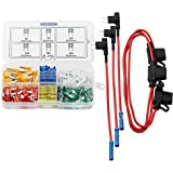 DIGITEN Mini Fuse Kit Automotive Mini Blade Type ATM Fuse Assorted + Inline 16 AWG Gauge Holder+ Add-a-circuit TAP…