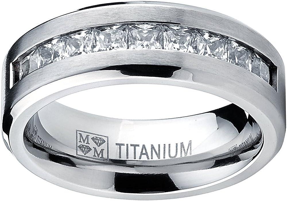 Alliance en Titane Avec 9 Zircone Cubique Taille Princesse Pour Homme Int/érieur Confort 8mm Taille 57 Ultimate Metals Co