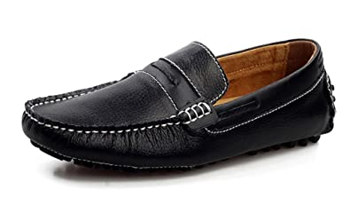 22e337a4e37 SUNROLAN ylw9009hei38 Alger Men s Leather Moc Toe Penny Loafers Slip On Dress  Shoes Black US 6.5