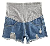 Hibukk Light Blue Distressed Raw Hem Slim Full Panel Maternity Denim Shorts, Jeanshortmaobian 4,Manufacturer(L)