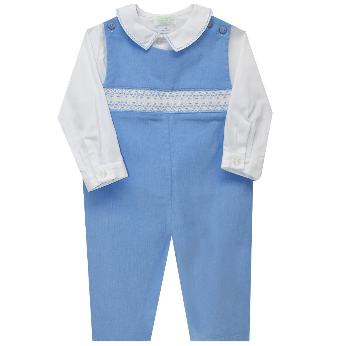 COLLECTION BEBE Andy Geometric Smocked Boys Overall and Shirt Vive La Fete