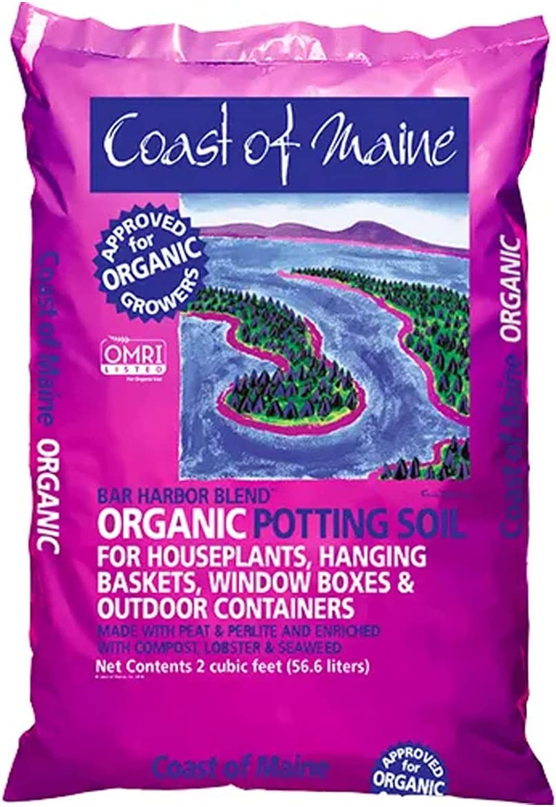 Coast of Maine OMRI Listed Bar Harbor Blend Organic Compost Potting Soil Blend for Container Gardens and Flower Pots, 2 Cubic Feet