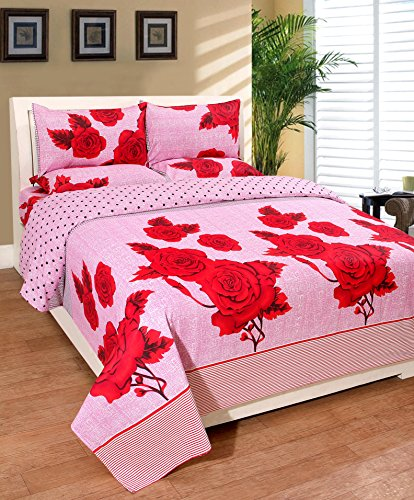 Warmland 140 TC Cotton Double Bedsheet with 2 Pillow Covers - Floral