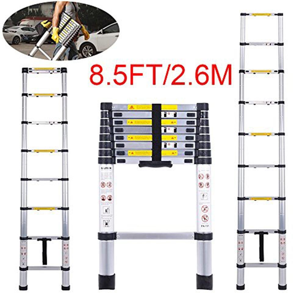 Telescoping Ladder Jason 8.5FT | 2.6M Max Load 330lbs Aluminum Ladder Extendable Ladder with EN131 and CE Standard [Step A +++](8.5FT/2.6M) by jason (Image #7)