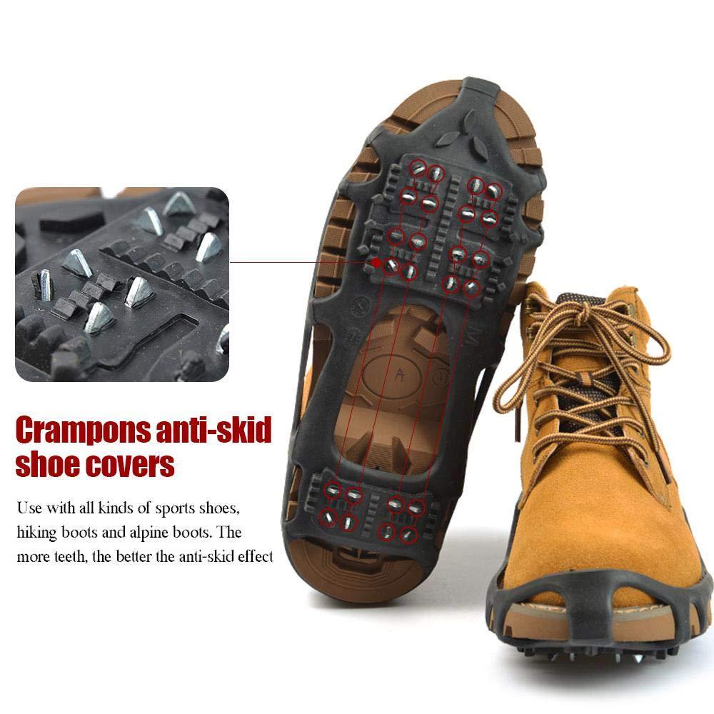 Agarres de Hielo Antideslizantes para Mujer Resistente a los deslizamientos para Correr S//M//L//XL Senderismo en Nieve y Hielo Negro 24 Tacos de tracci/ón para Zapatos//Botas de Invierno