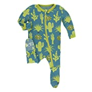 Print Footie with Zipper (Seagrass Cactus - 6-9 Months)
