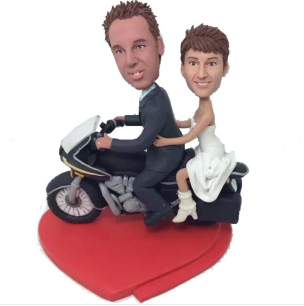 Custom Couple on Motorcycle Wedding Bobble head Polymer Clay Handmade Bobbleheads Cake Toppers