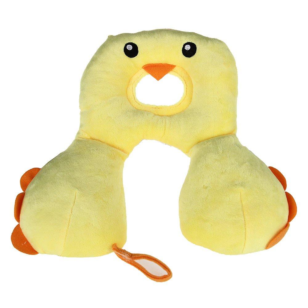 FACILLA® Baby Nackenstütze Nackenkissen für Autositz/Kinderwagen U-Nackenhörnchen Gelb