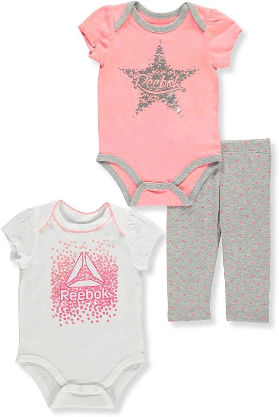 Reebok Baby Girls Bodysuit and Pant 3 Piece Set