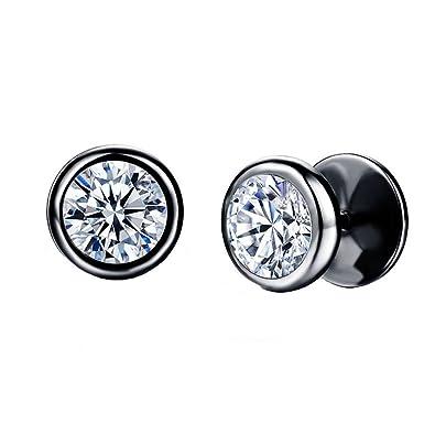PAURO Unisex Stainless Steel Round Zircon Studs Earrings Hypoallergenic Tragus zxwzUzh