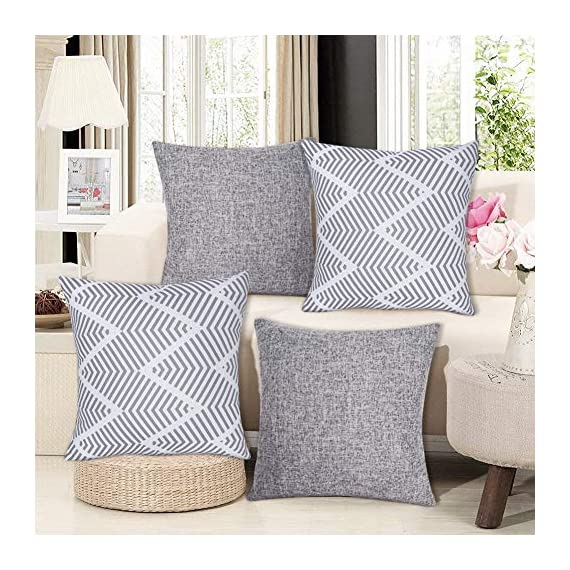 Decorsurface throw pillow covers 18x18 - set of 4, decorative pillow covers for couch and sofa, cotton linen pillow covers set, simple geometric style, grey - Pillow covers size: 18x18 inch(45x45 cm), Fabric: cotton linen, Pack of 4(pillow inserts not included), throw pillow covers are great for couch, sofa, etc. Premium material & simple design: Made of high-quality cotton linen, the fabric is thick and has wrinkle resistance, set of 4 pillow covers contain 2 modern simple styles with grey color. Feature: The invisible zipper design gives your throw pillows more decent look, and it's easy to replace, these decorative pillow covers are available for home sofas, living rooms, cars, etc. Machine wash is available too, please choose the gentle cycle in cold water. - patio, outdoor-throw-pillows, outdoor-decor - 61j11xg q0L. SS570  -