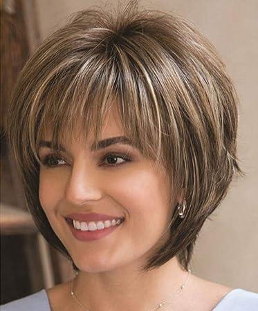 Amazon.com: Peluca de pelo corto rizado para mujer, mezcla ...