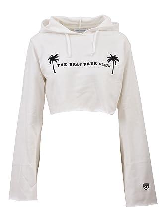 Felpa Cotone Bianco Ferragni Donna Cff018white Chiara 8OqAI
