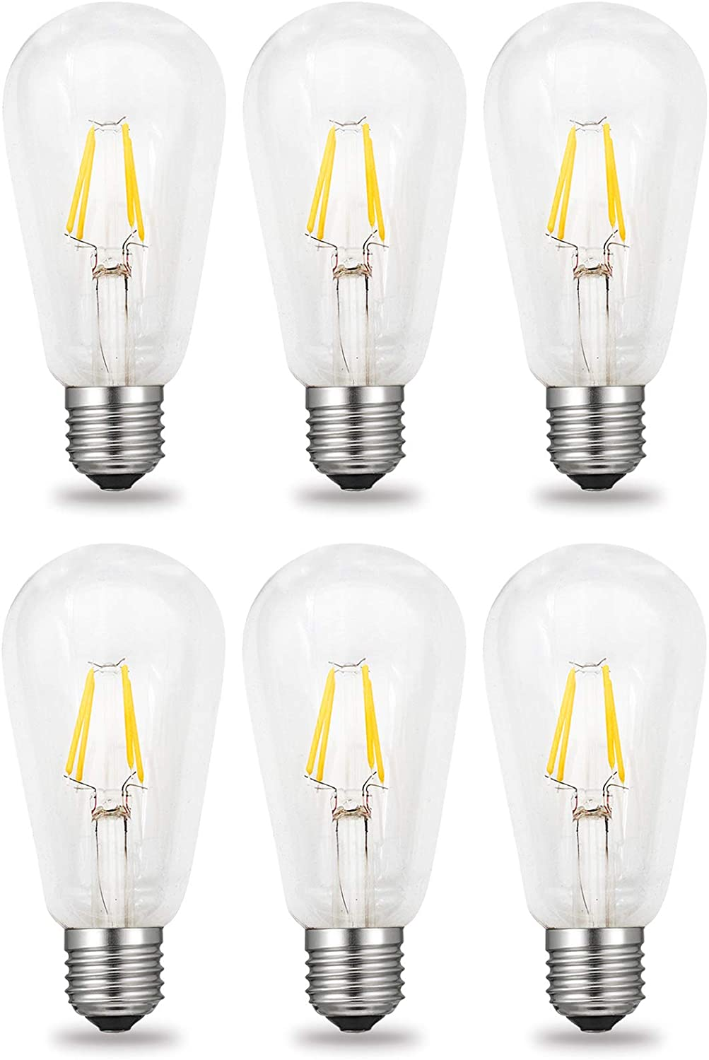 Cool White 6500 Kelvin 400LM iRotYi 1-Pack 40W Incandescent Bulbs Replacement Dimmable 4W AC 120V LED Filament Light Clear Glass Bulbs ST64 E26 Base Lamp