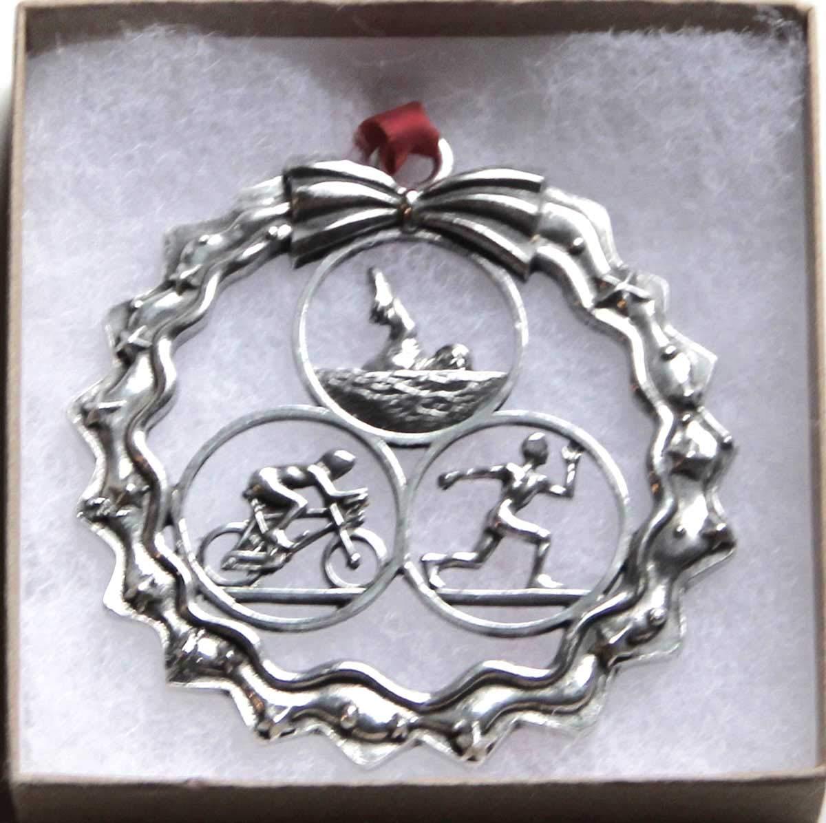 Dana Paige Designs Male Triathlon Ornament in Wreath - Handmade Triathlon Ornaments - Unique Holiday Triathlon Gift
