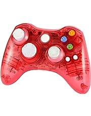 Wetoph Xbox 360 Wireless Controller, GD02 Nachleuchten PC Controller Transparente Gamepad mit 8 LED-Leuchten Unterstützung Xbox 360 und PC (Windows XP / 7/8/10) rosa