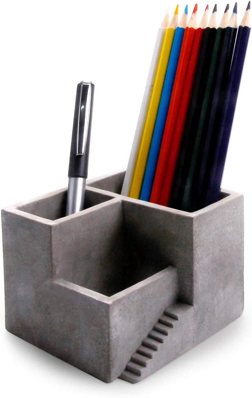 ComSaf Cement Pen Pencil Holder with Small Succulents Planter Box, Concrete Office Desktop Organizer with 3 Compartments, Set of 1 (Grey)