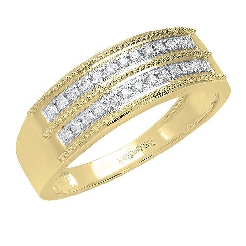 0,24 quilates (de quilate) 10 K oro blanco redondo blanco diamante aniversario del hombres boda banda 1/4 CT: Amazon.es: Joyería