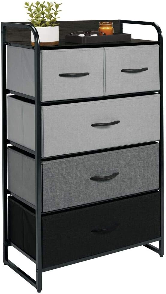 mDesign Dresser Storage Tower - Sturdy Steel Frame, Wood Top & Handles, Easy Pull Fabric Bins - Organizer Unit for Bedroom, Hallway, Entryway, Closets - 5 Drawers - Gray/Multi/Black