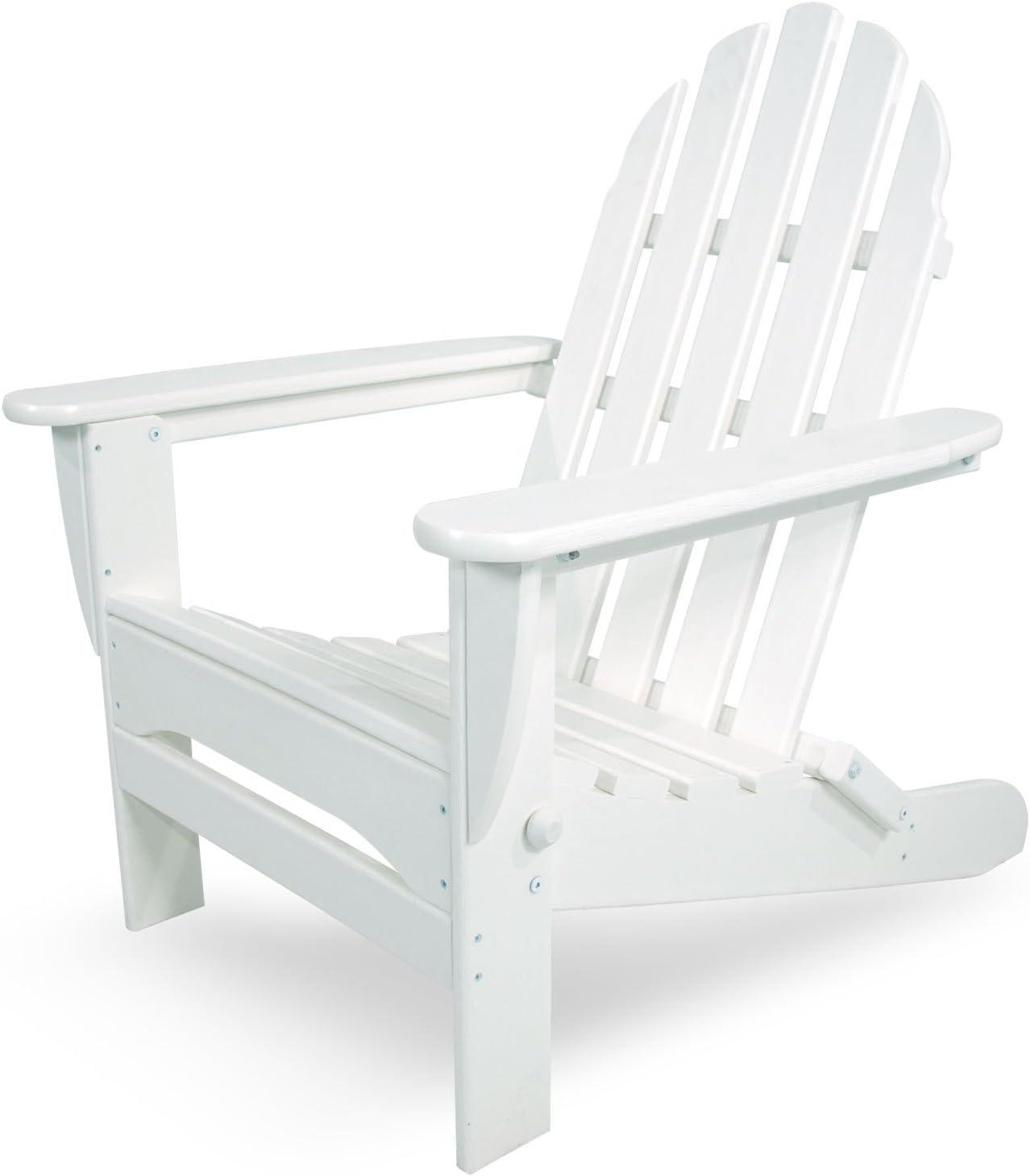 "POLYWOOD AD5030WH Classic Folding Adirondack Chair, 35.00"" x 29"" x 35.00"", White"