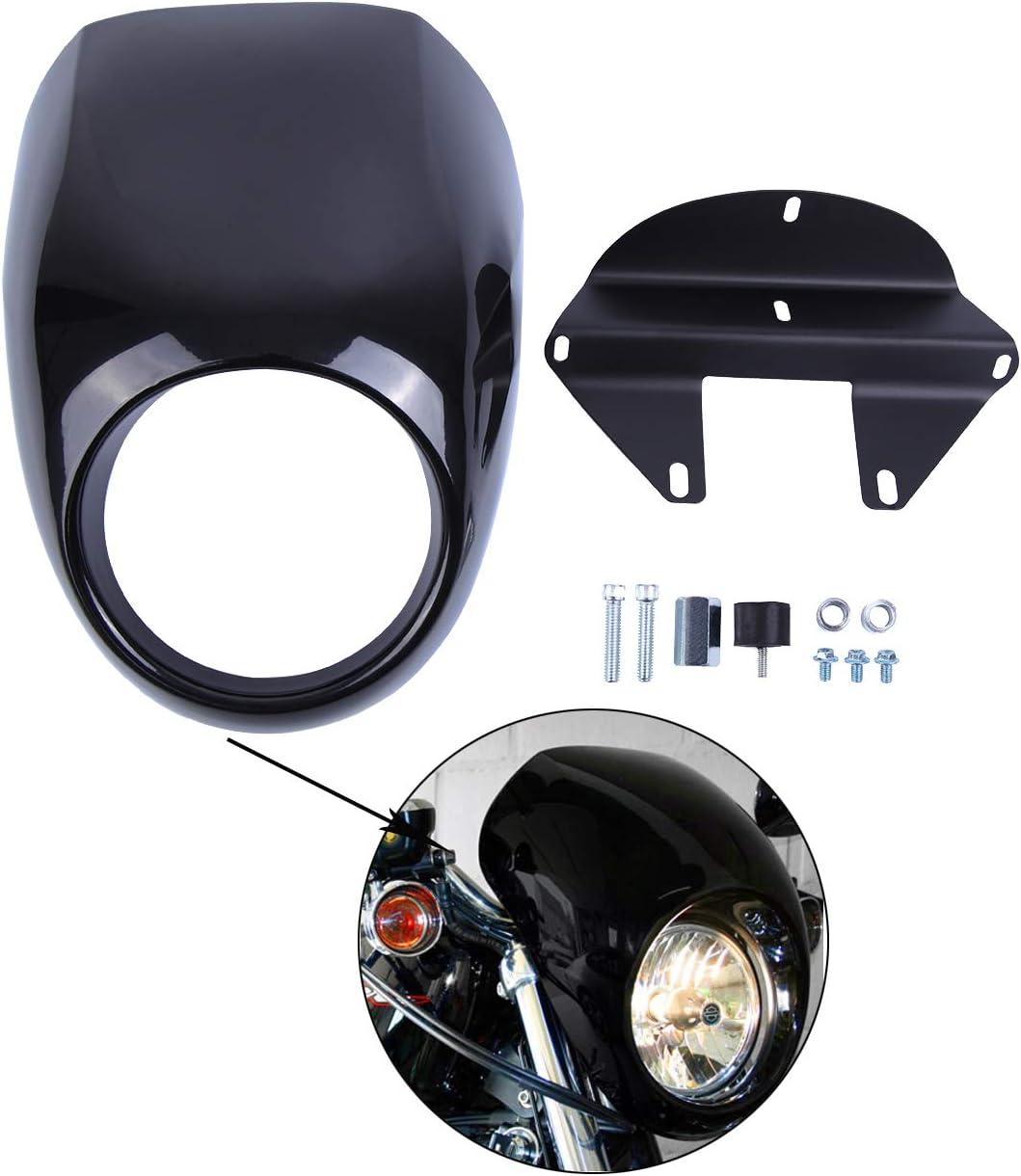 Samger Headlight Couverture de car/énage car/énage avant visi/ère de masque pour 1973 Up Harley Sportster Dyna FX XL