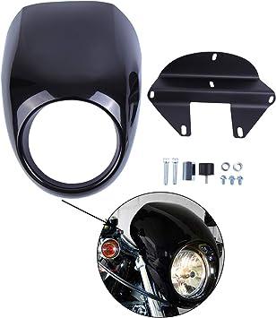 Plastica Nera Moto Faro Anteriore Visiera Cupolino Per Harley
