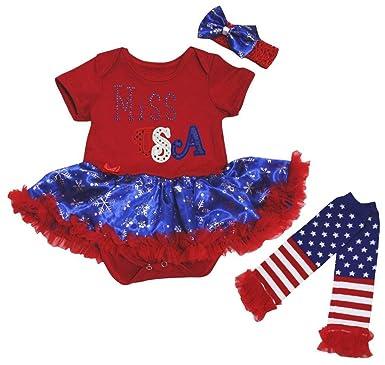 2c22f27b5 Petitebelle Miss USA Red Cotton Bodysuit Blue Snowflake Baby Dress ...