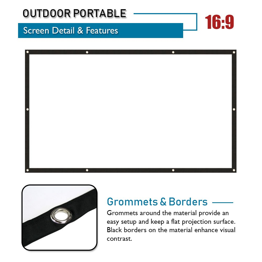 Akia Screens 120 inch Indoor Outdoor Collapsible Portable Projector Screen 16:9 8K 4K Ultra HD 3D Ready Movie Theater Home Theater Roll-Up DIY Hang Anywhere Projection Screen AK-DIY120H1