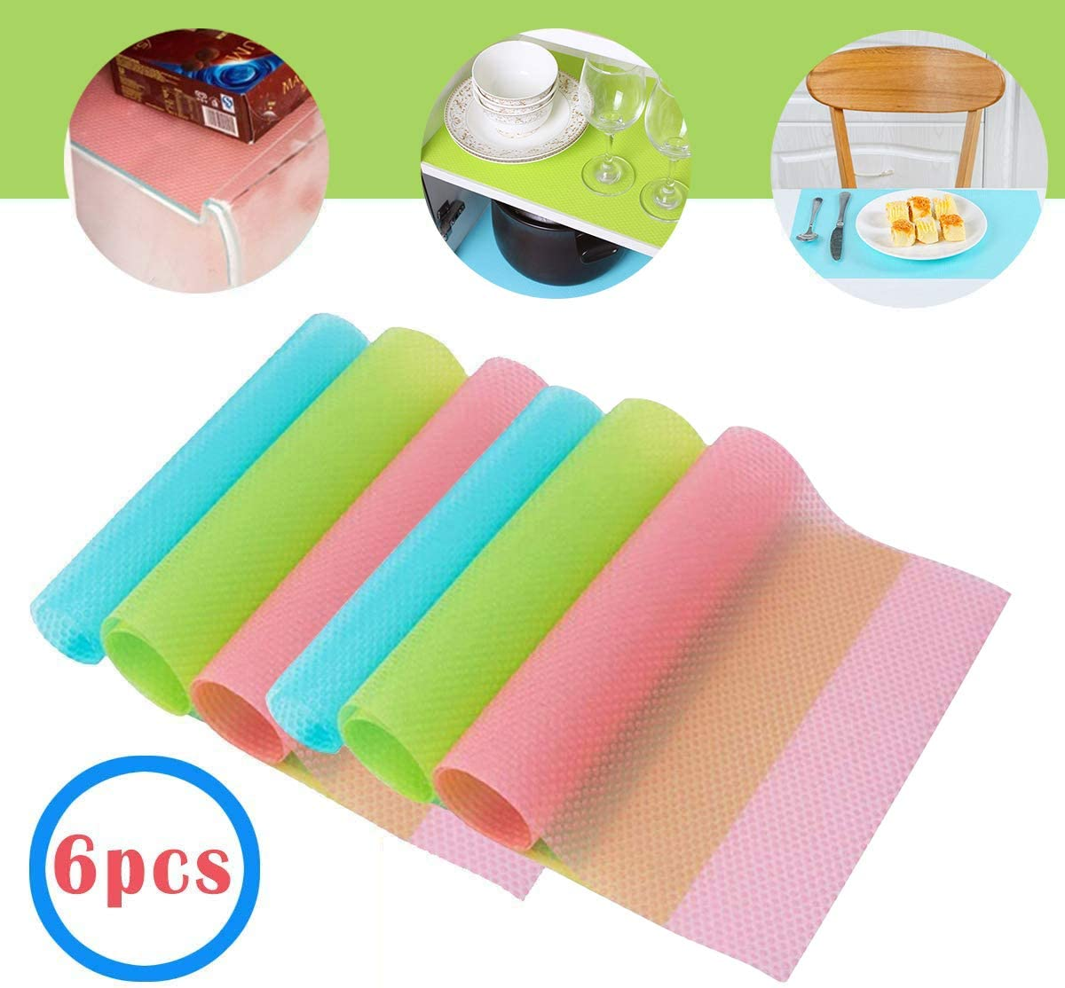 ggb Refrigerator Liner Mats Washable 6PCS Drawer Table Placemats (2 Green+2 Pink+2blue)